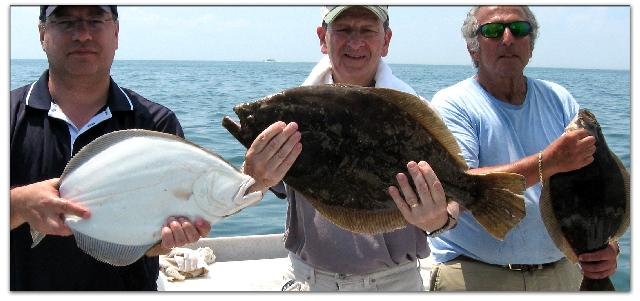Stuart and the                       gang catch some really nice summer flounder aboard                       Long Island's best chartboat!